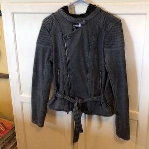 Free People Hooded Jacket In Black/Gray Size Small